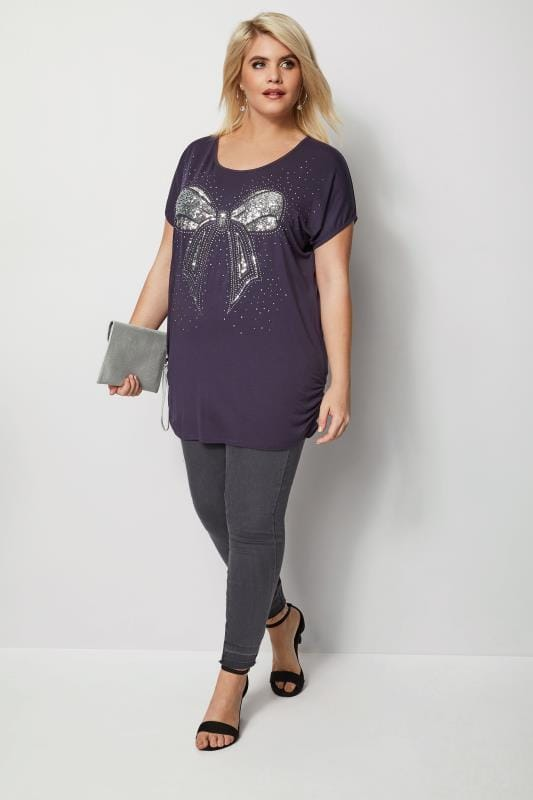 Purple Embellished Bow T-Shirt