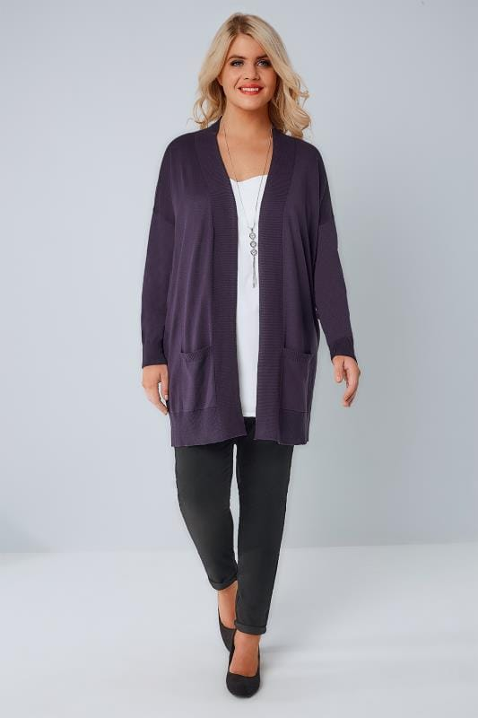 Purple Fine Knit Edge To Edge Cardigan