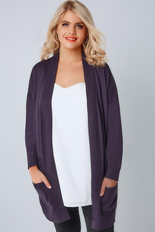 Cardigans Purple Fine Knit Edge To Edge Rib Trim Cardigan With Pockets 124037