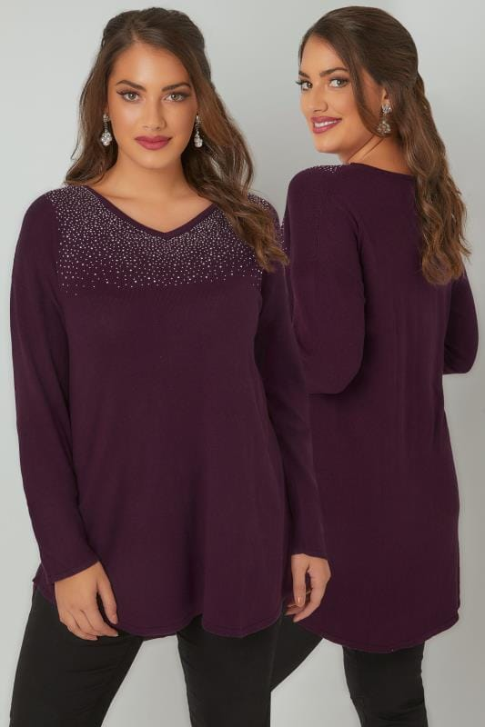 Purple Fine Knit Jumper With Diamante Embellishment To Neckline