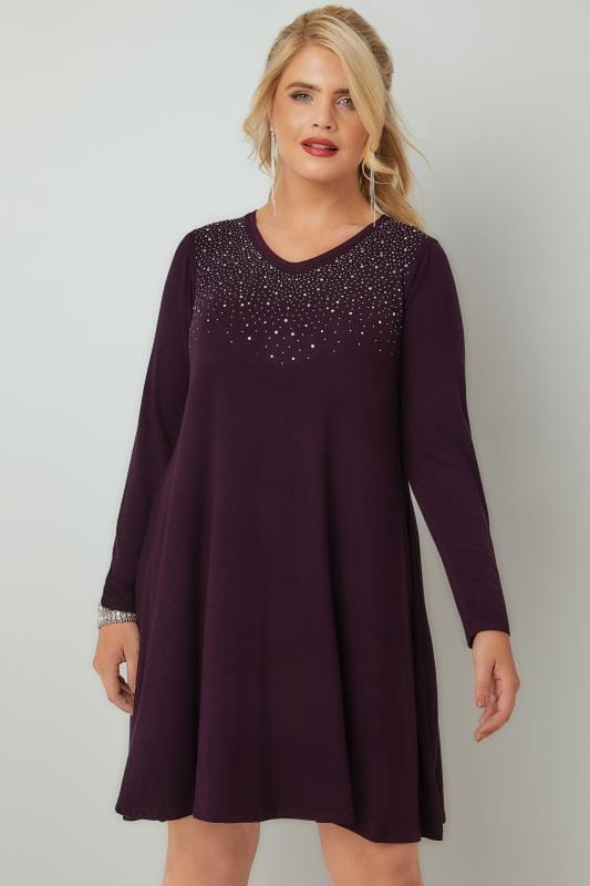 Swing & Shift Dresses Purple Fine Knit Swing Dress With Embellished Front 136175