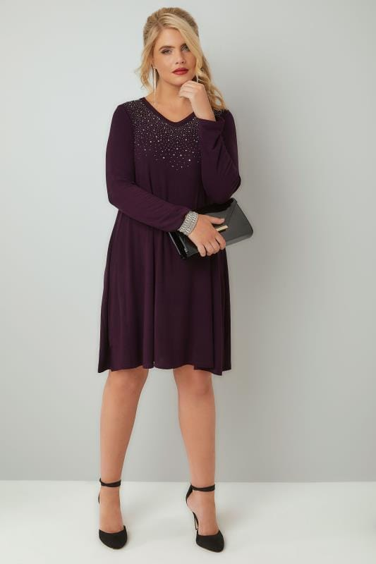 Purple Fine Knit Swing Dress With Embellished Front