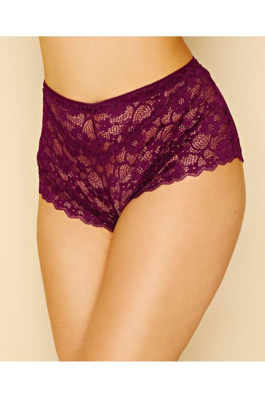 Purple Floral All Lace Brief