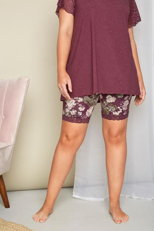 Plus Size Loungewear Purple Floral Lace Loungewear Shorts
