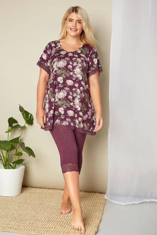 Purple Floral Lace Loungewear Top