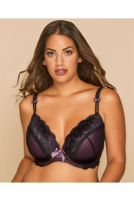 Plus Size Bras Wired Purple Floral Lace Underwired Padded Bra With Scalloped Trims