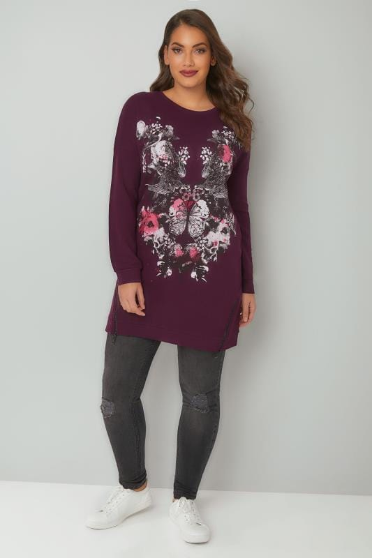 Purple Floral Mirror Print Longline Sweatshirt With Double Zip Hem