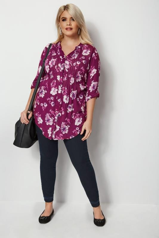 Purple Floral Pintuck Blouse