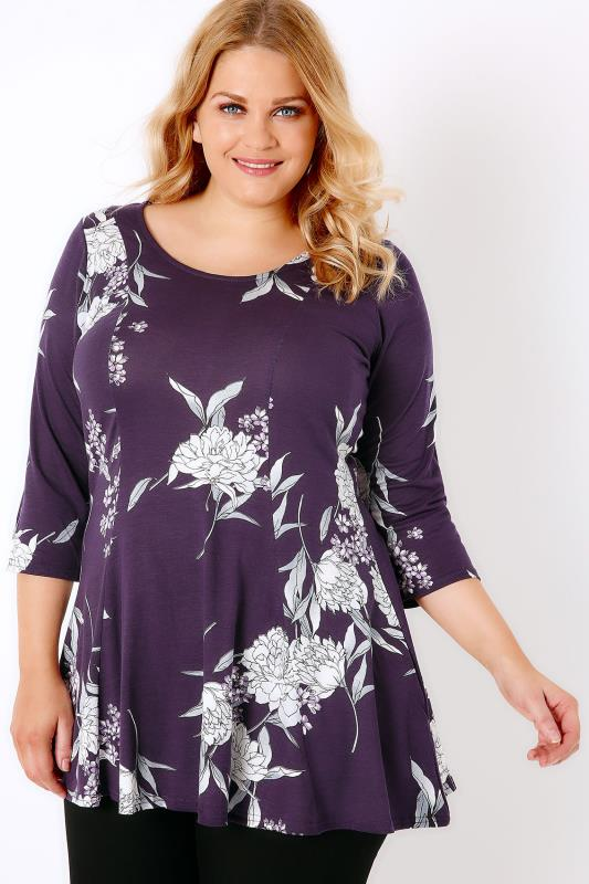 Purple Floral Print Longline Peplum Top With Panelling