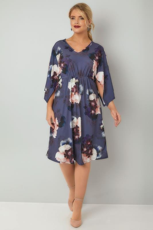 Purple Floral Print Ruched Waist Midi Dress With Wide Split Sleeves