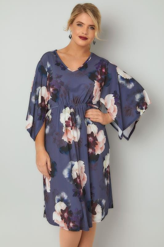 Plus Size Midi Dresses Purple Floral Print Ruched Waist Midi Dress With Wide Split Sleeves