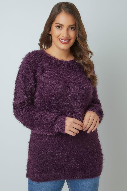 Purple Fluffy Eyelash Jumper