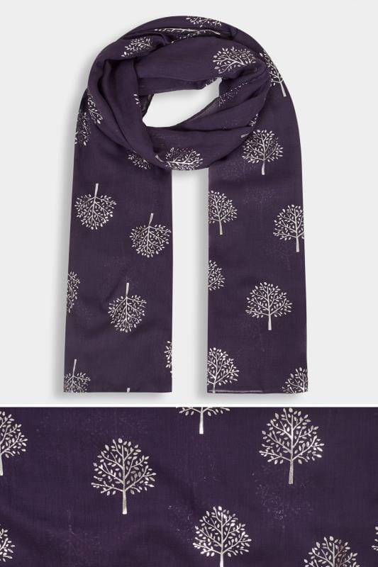 Plus Size Scarves Purple Foil Tree Scarf