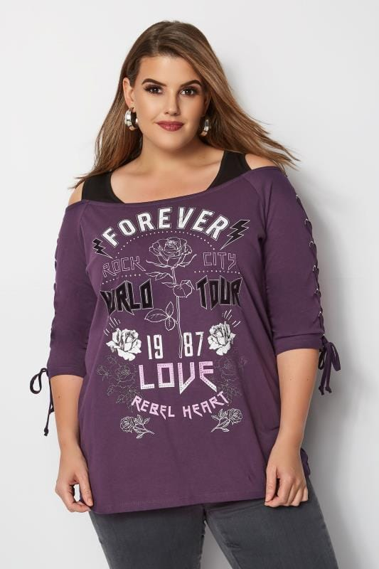 Plus Size Day Tops Purple 'Forever Love' Bardot Top With Eyelet Lattice Sleeves