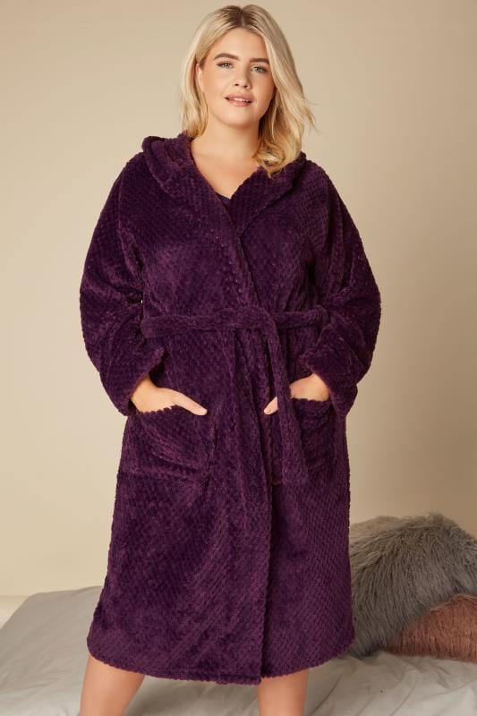 Plus Size Robes Purple Hooded Fleece Dressing Gown