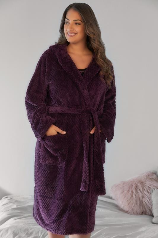Plus Size Dressing Gowns Purple Hooded Textured Fleece Dressing Gown With Pockets