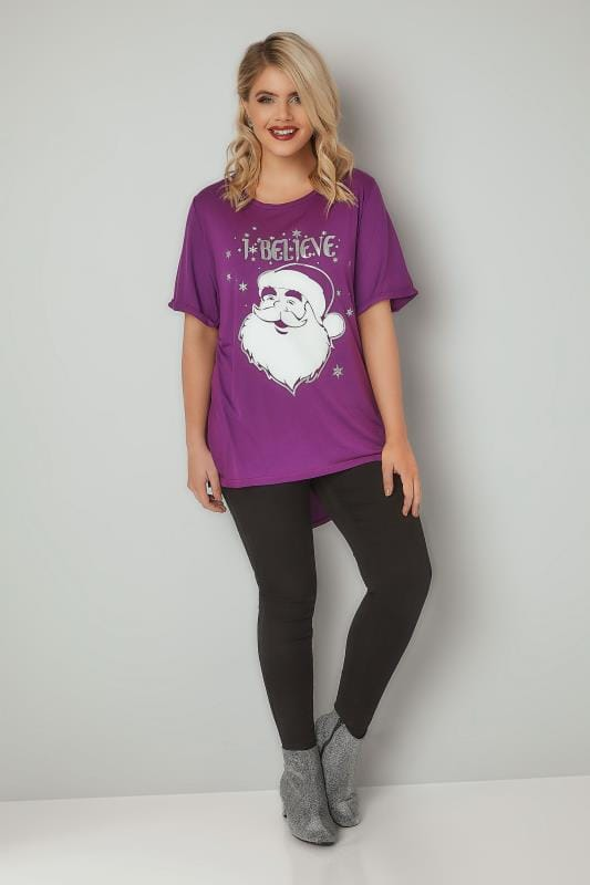 Purple 'I Believe' Santa T-Shirt With Curved Hem