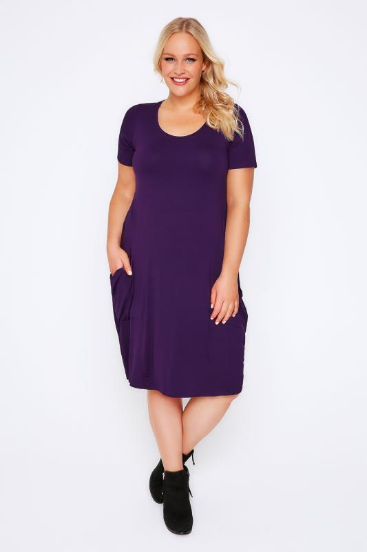 Purple Jersey Dress With Drop Pockets