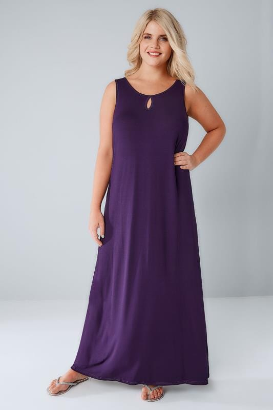 Purple Jersey Maxi Dress With Keyhole Detail