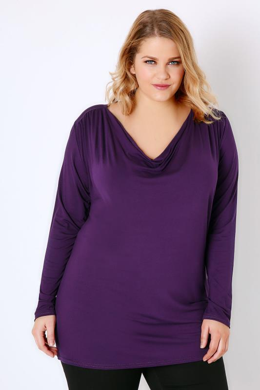 Purple Jersey Top With Cowl Neck