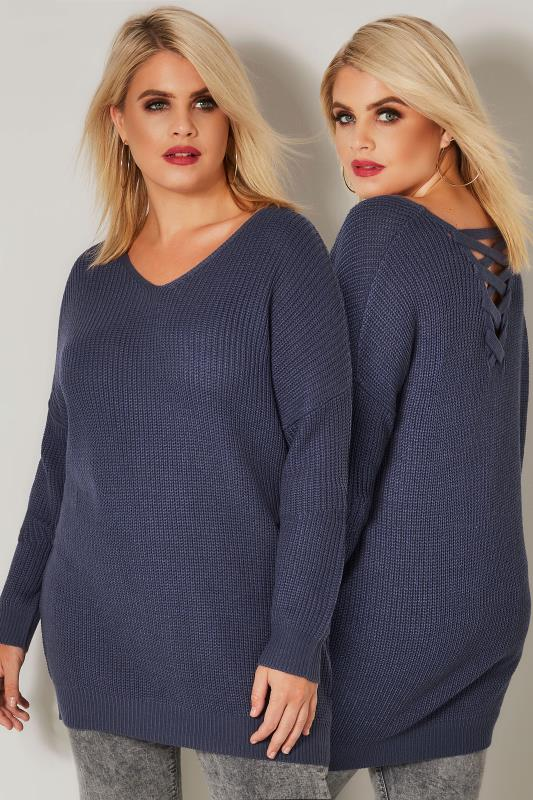 Plus Size Knitted Tops & Jumpers Blue Knitted Jumper With Cross Over Straps