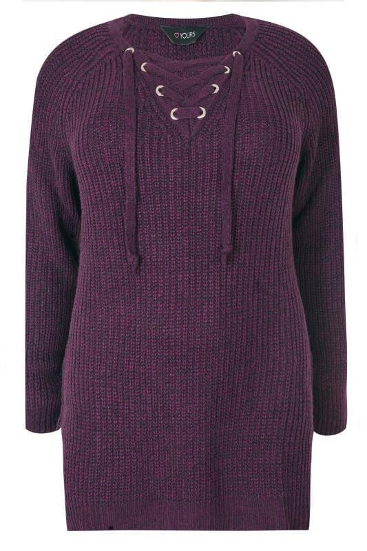 Plus Size Jumpers Purple Knitted Jumper With Eyelet Lattice Front