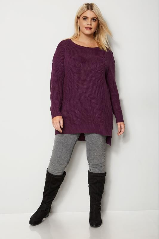 Plus Size Jumpers Purple Knitted Jumper With Lattice Shoulders
