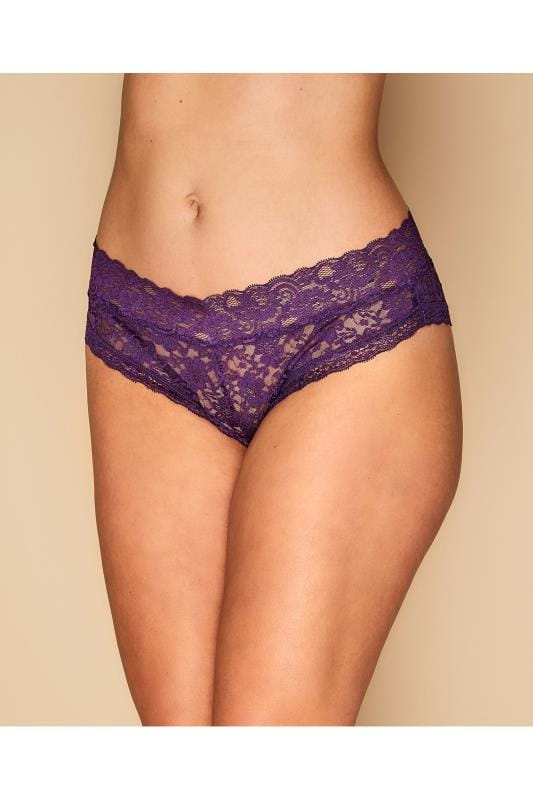 Plus Size Plus Size Briefs & Knickers Purple Lace Briefs