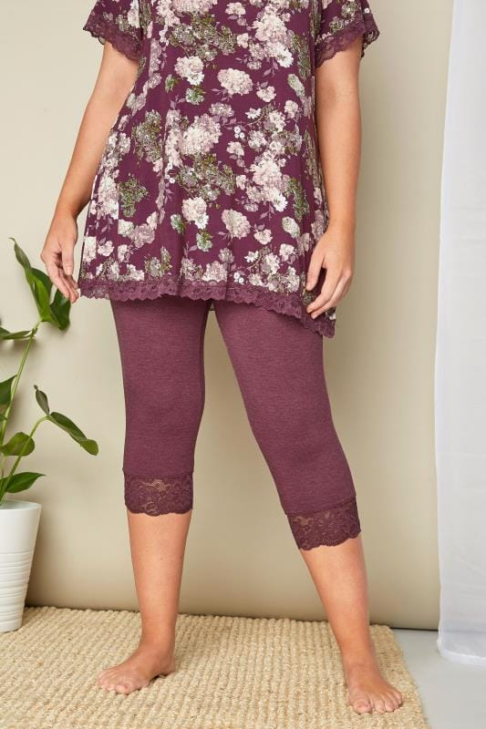 Plus Size Pyjamas Purple Lace Cropped Loungewear Leggings