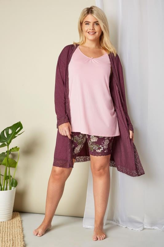 Purple Lace Jersey Loungewear Robe