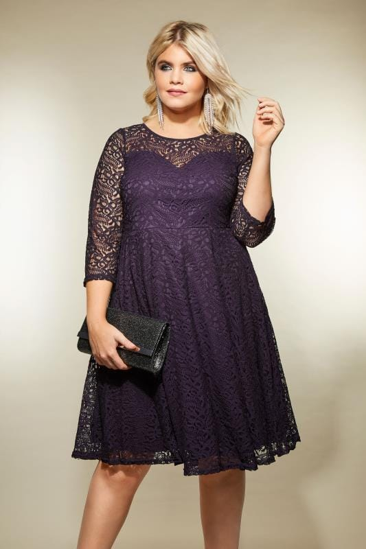 Plus Size Skater Dresses Purple Lace Skater Dress