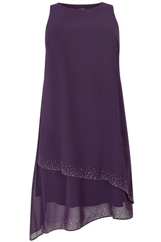 Plus Size Midi Dresses Purple Layered Asymmetric Swing Dress With Diamante Detail