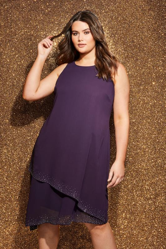 Purple Layered Asymmetric Swing Dress With Diamante Detail