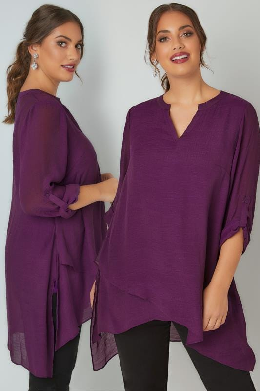 Plus Size Blouses & Shirts Purple Layered Blouse With Notch Neck & Dipped Hem