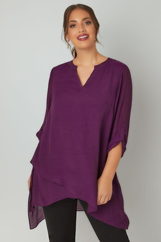 Purple Layered Blouse With Notch Neck & Dipped Hem