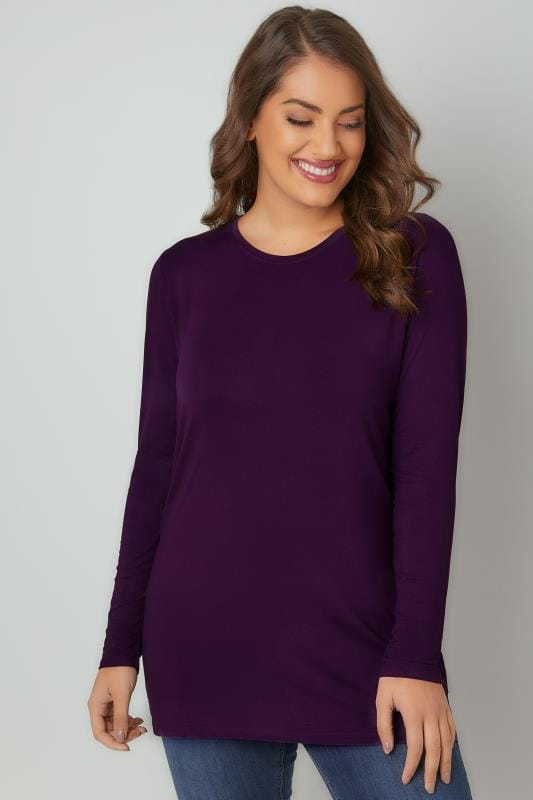 Jersey Tops Purple Long Sleeve Soft Touch Jersey Top 132418