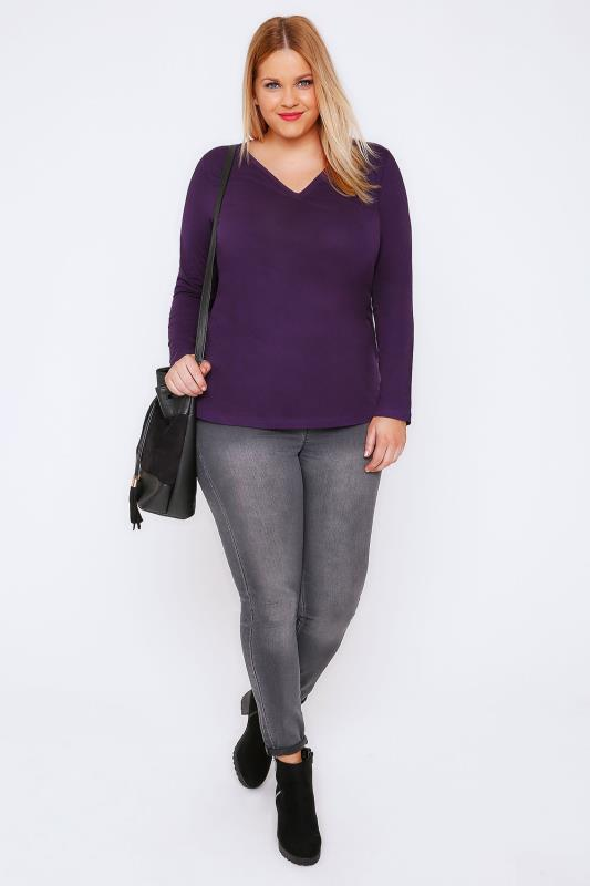 Purple Long Sleeve V-Neck Plain T-Shirt