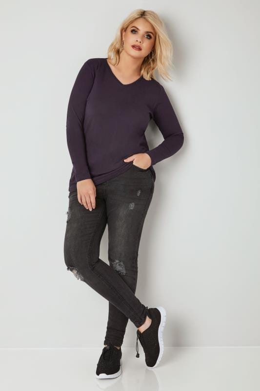 Purple Long Sleeved V-Neck Jersey Top