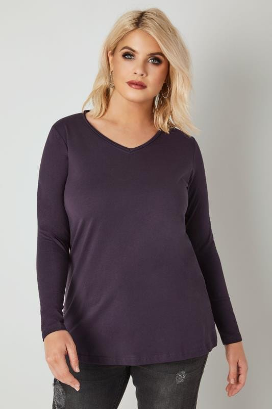 Plus Size T-Shirts Purple Long Sleeved V-Neck Jersey Top