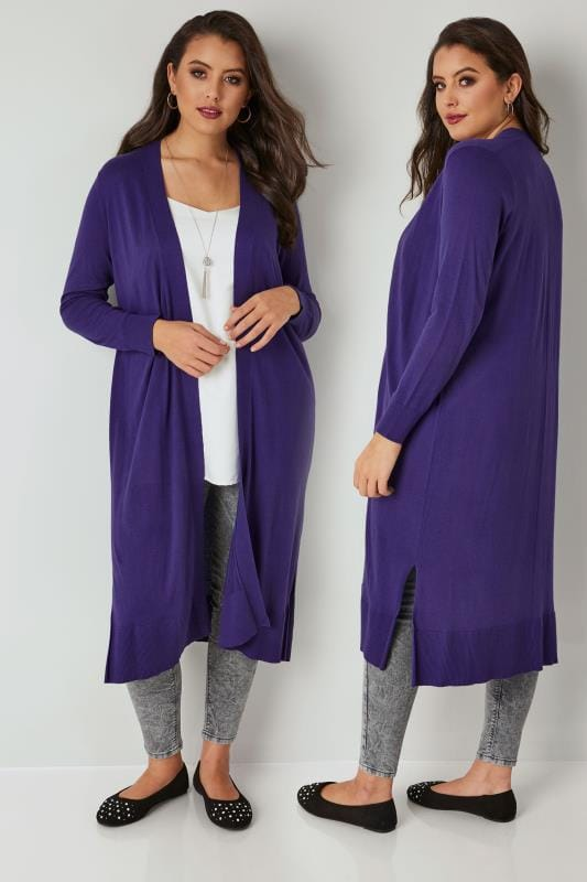 Plus Size Cardigans Purple Longline Cardigan With Side Splits
