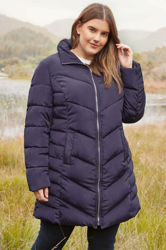 Plus Size Puffer & Quilted Jackets Purple Longline Puffa Coat With Zip Out Hood