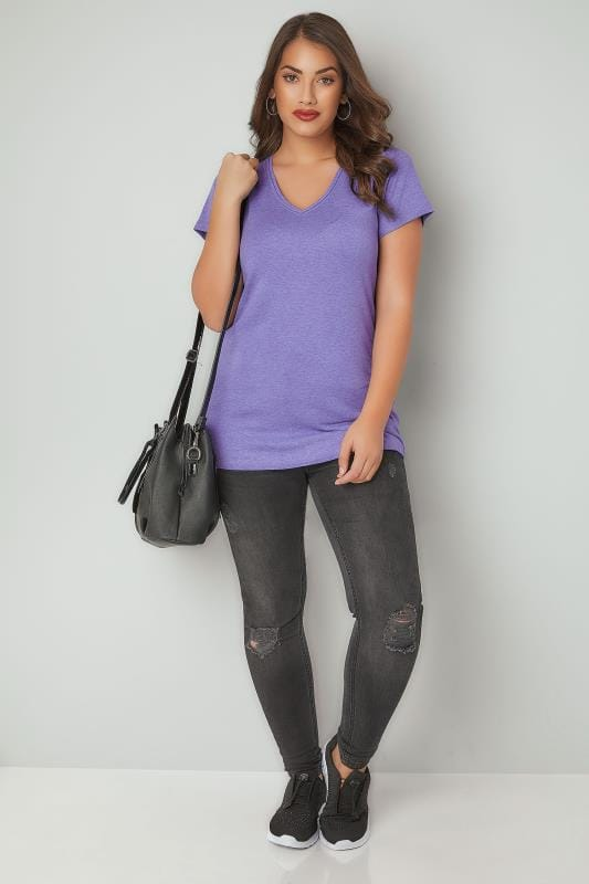 Purple Marl Short Sleeved V-Neck Basic T-Shirt