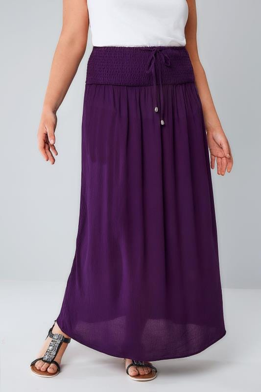 Purple Maxi Skirt With Ruched Waistline