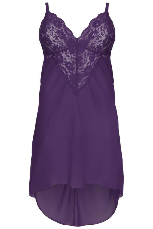 YOURS LONDON Purple Mesh & Lace Chemise With Extreme Dip Hem