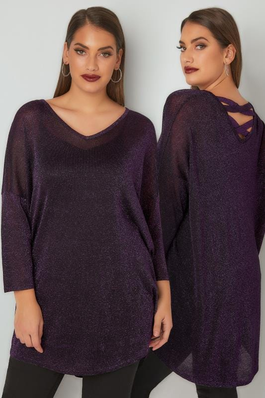 Purple Metallic Longline Fine Knit Top With Cross-Over Straps & Dipped Hem