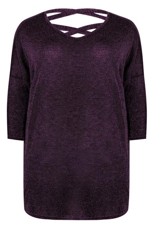 Tops Soiree Purple Metallic Longline Fine Knit Top With Cross-Over Straps & Dipped Hem 124066