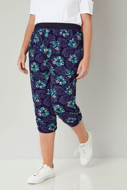 Plus Size Cropped Trousers Purple & Multi Floral Cropped Harem Trousers