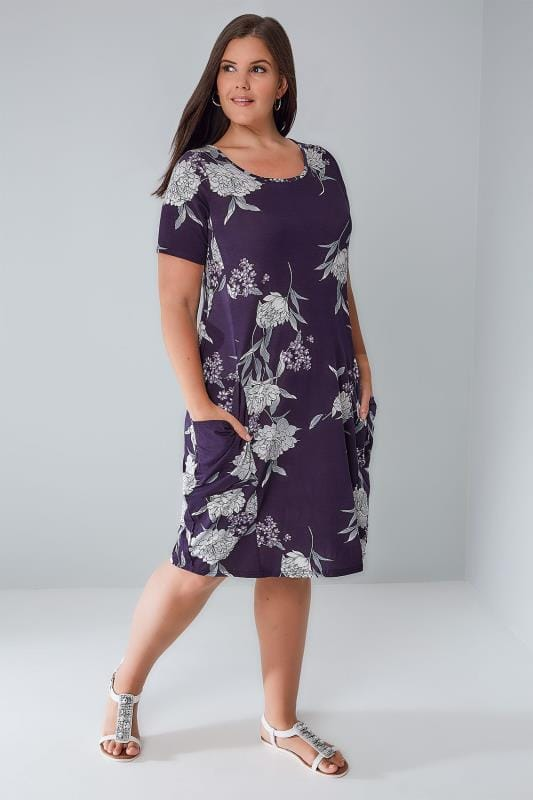 Purple & Multi Peony Floral Pattern Dress With Drape Pockets