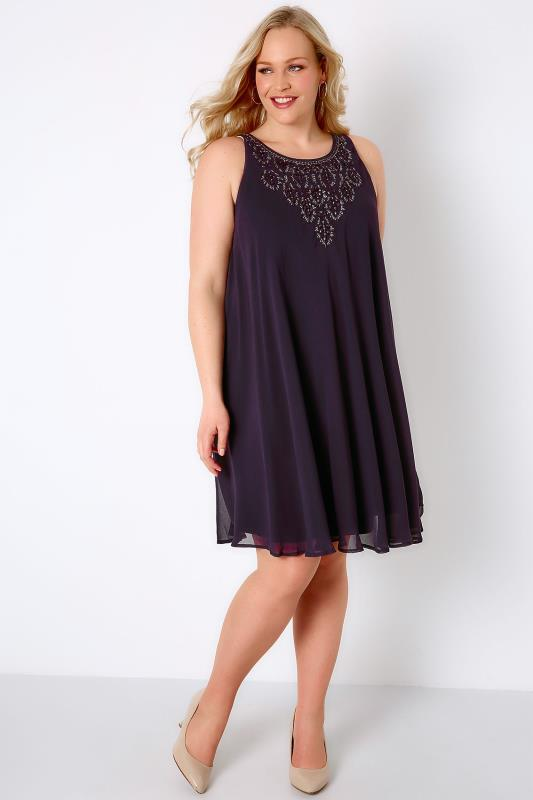 Purple Ofilia Swing Dress With Embellished Neckline