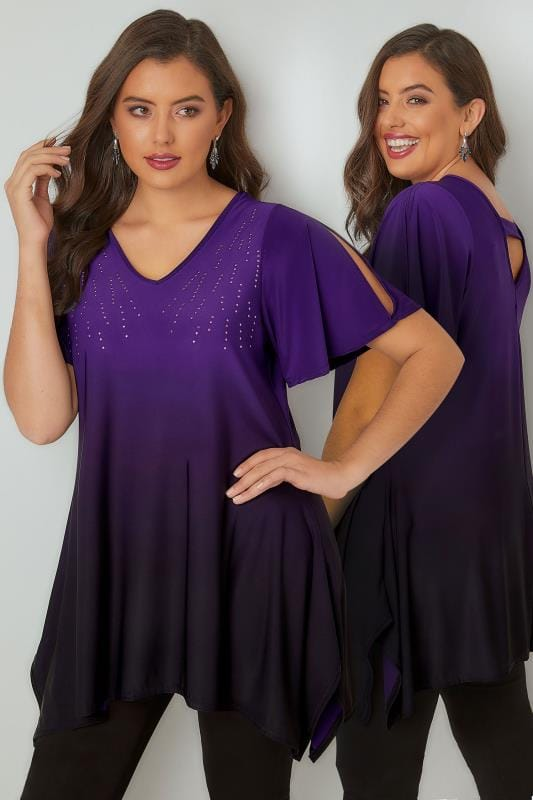 Jersey Tops Purple Ombre Longline Top With Stud Details & Hanky Hem 134235